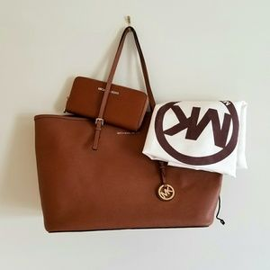 Michael Kors Jet Set Brown Safianno Tote + Wallet